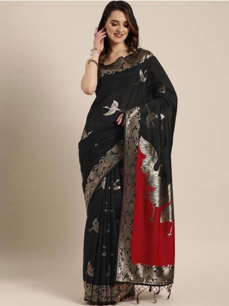 Black Red Banarasi Saree-dh1