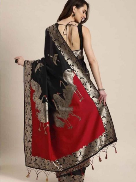 Black Red Banarasi Saree-dh1aa