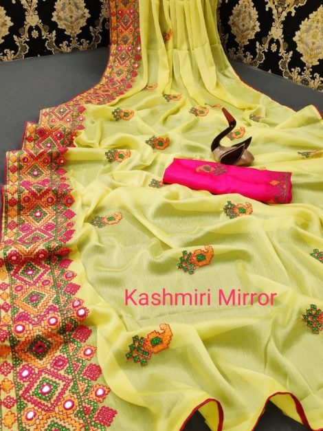 Mirror work chiffon saree 1