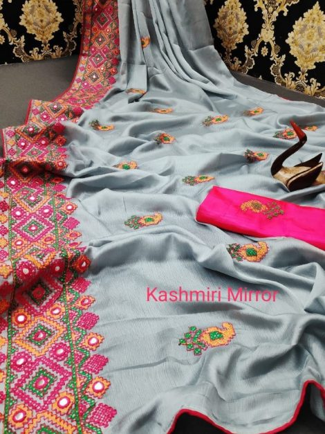 Mirror work chiffon saree