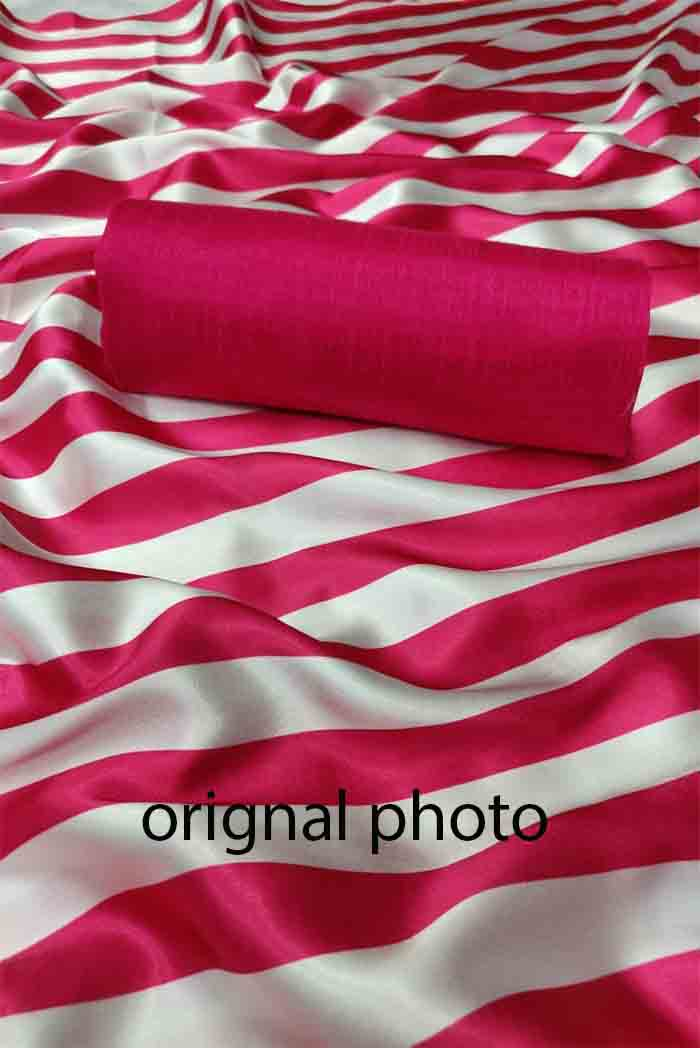 Pink White Satin Silk Saree