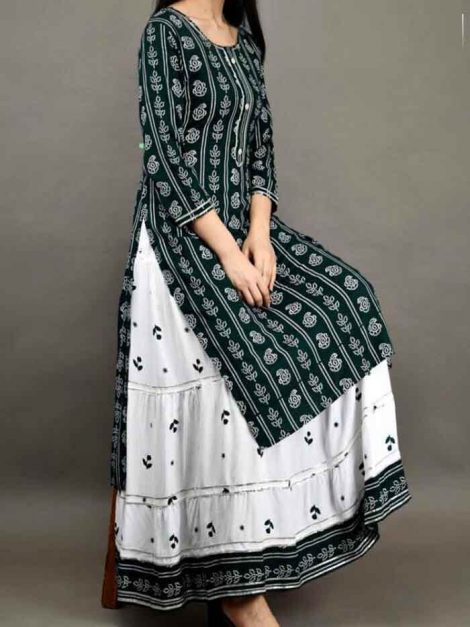 Rayon Cotton Kurti With Skirt