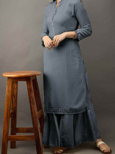 Rayon Kurti With Kali Sharara