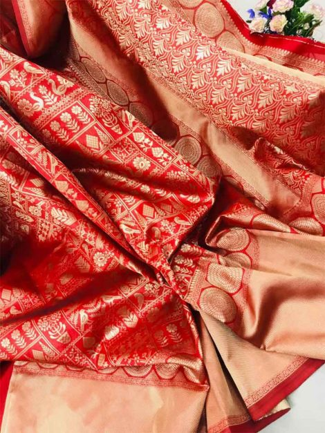 Red banarasi saree-ad101a