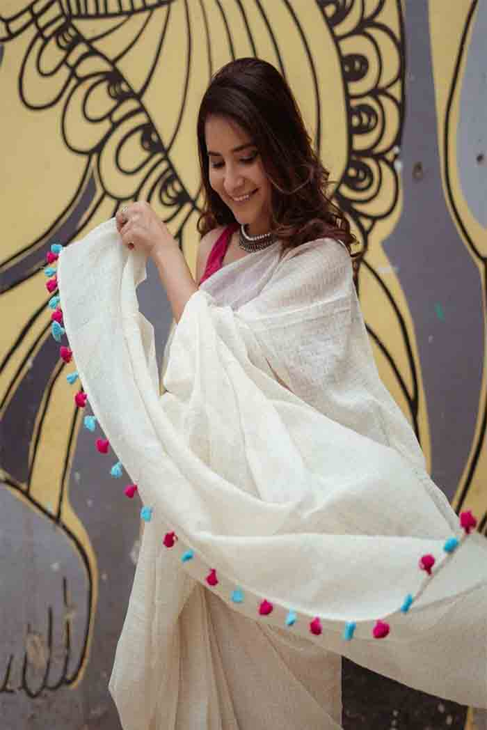 White Chanderi Saree with Tussels