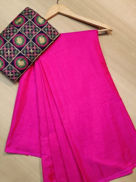 Embroidered blouse with plain saree 1