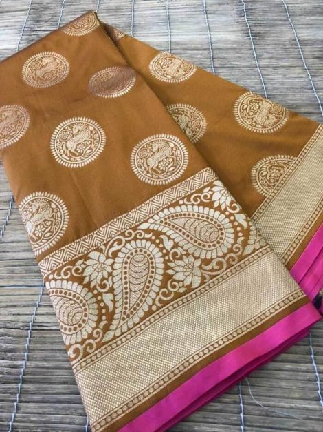 Charming soft kesari silk saree 1