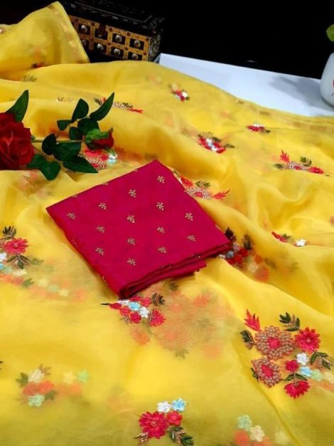 Yellow Soft Organza Saree-me52c