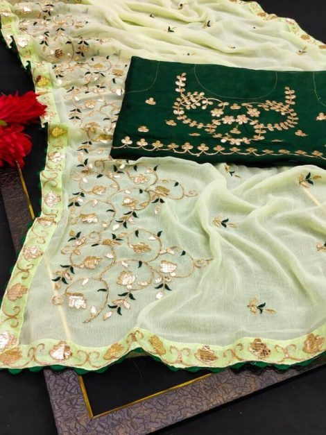 Blooming Pure Chiffon Traditional Saree with Gottapati work-wf2a