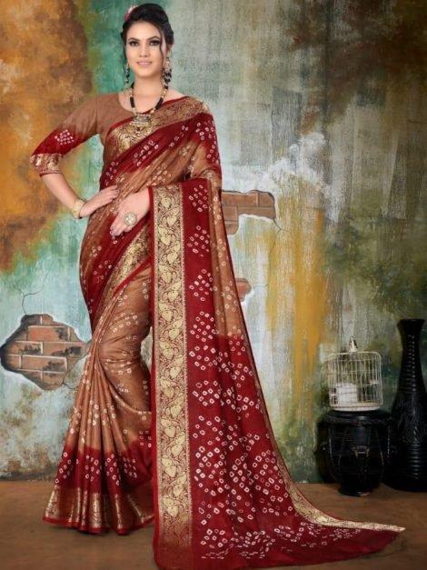 Brown Art Silk Bandhani Saree with Zari Weaving-sm02a