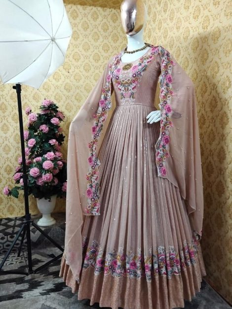 Cream Fox georgette with sequence work gown-sr03a