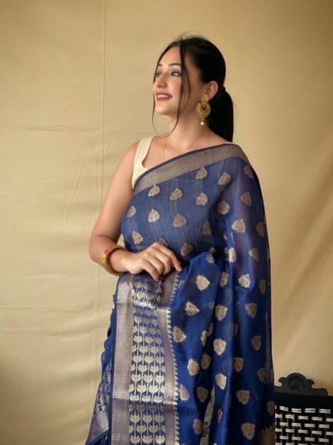 Engrossing Blue Cotton Linen Saree-TAS03ba