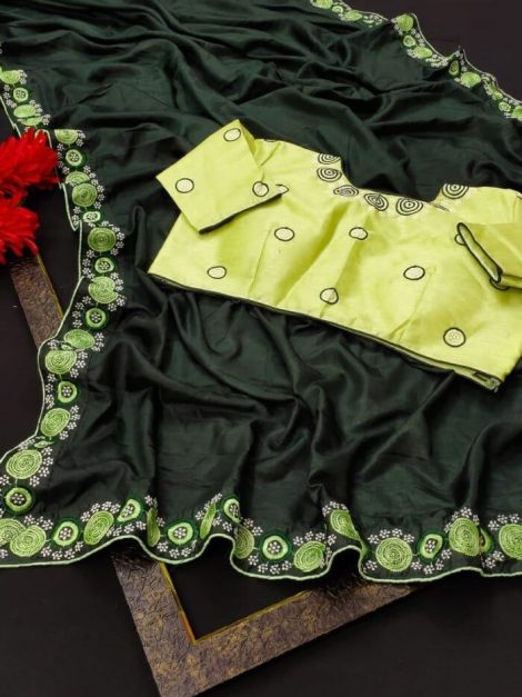 Green Dolla silk Bridal Saree with embroidery work-wf6bb