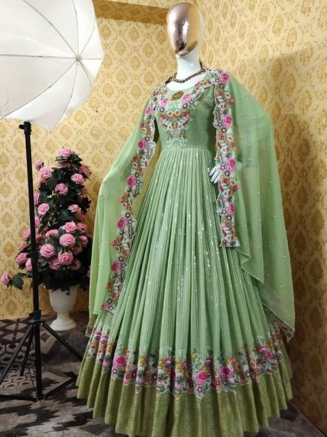 Green Fox georgette with sequence work gown-sr03cb