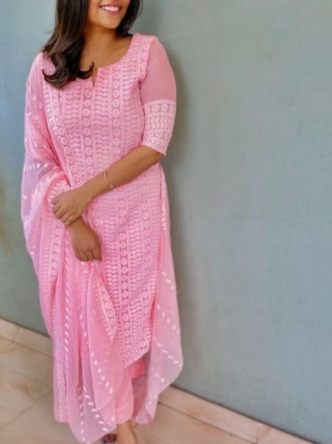 Pink Top On Gorgette with Chainstich work -rt11a