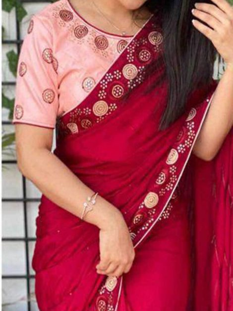 Red Dolla silk Bridal Saree with embroidery work-wf6ca