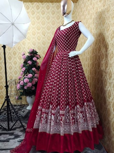 Red Fox georgette gown with embroidery work and full sleeves-sr02bb