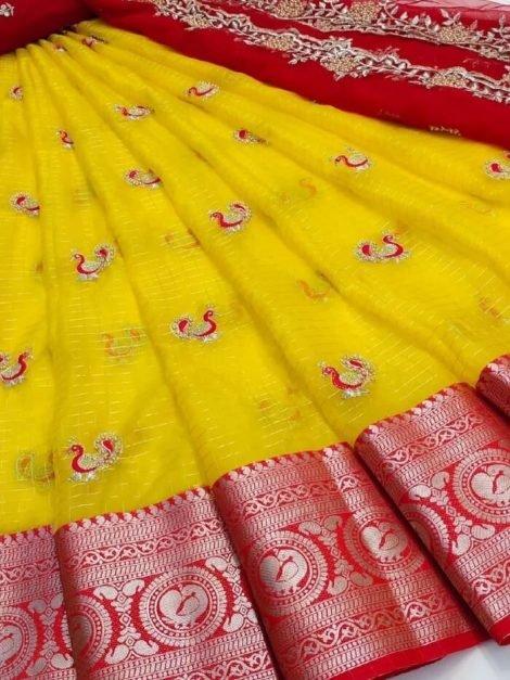 Yellow Pure Kanchi organza Half Saree-ko01e