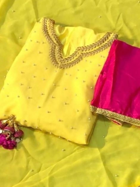 Yellow georgette with moti Gown-rt02b