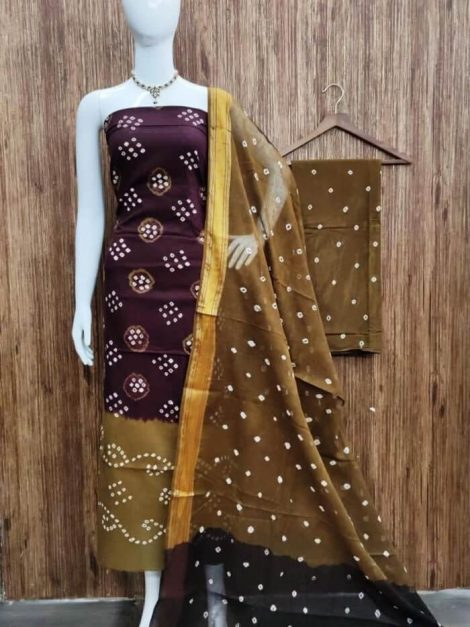 Authentic Bandhani Printed Cotton Salwar Suit Dress Material-kt02a