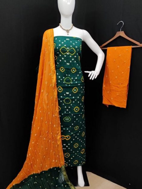 Green Pure Cotton Bandhani Dress Material set with Dupatta-kt03c