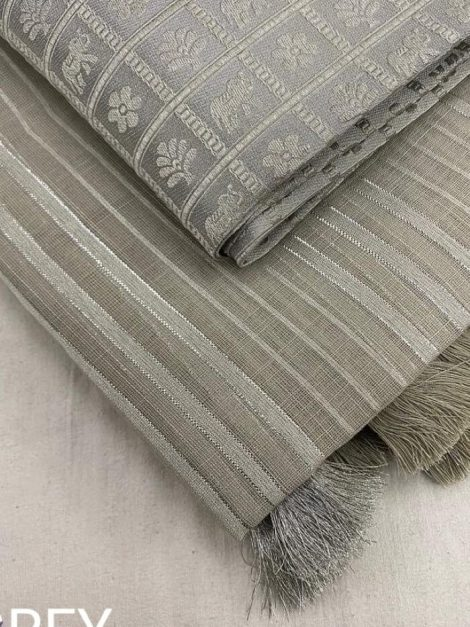 LGrey Pure Linen saree with silver weaving stripes