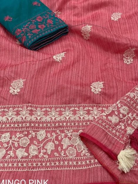 Pink Gold Lucknowi Linen Saree With Slun Style Weaving-ak02c