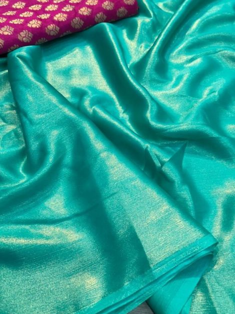 Glowing Plain Saree Green Color With Heavy Blouse-ko20a